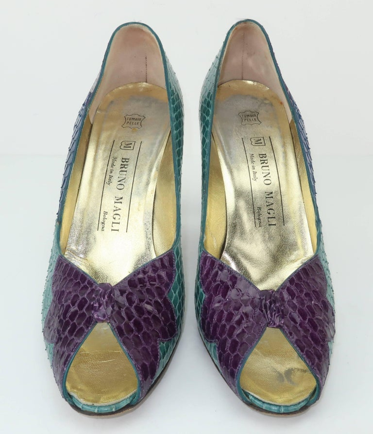 Gray C.1980 Bruno Magli Multi Color Snakeskin Peep Toe Shoes For Sale