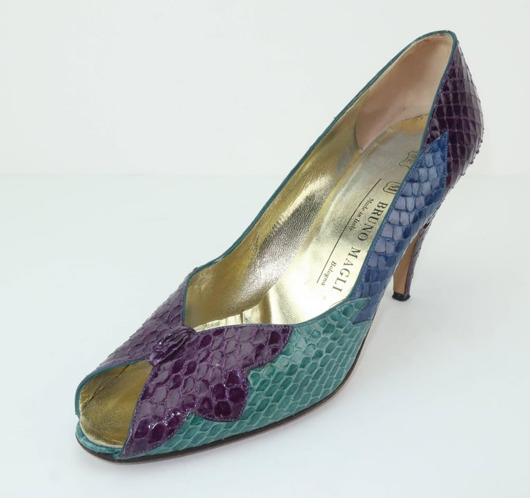 C.1980 Bruno Magli Multi Color Snakeskin Peep Toe Shoes For Sale 1