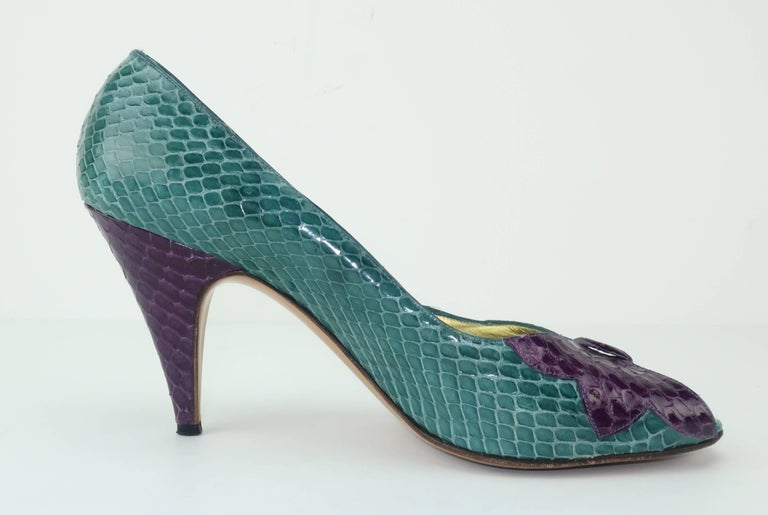 C.1980 Bruno Magli Multi Color Snakeskin Peep Toe Shoes For Sale 2