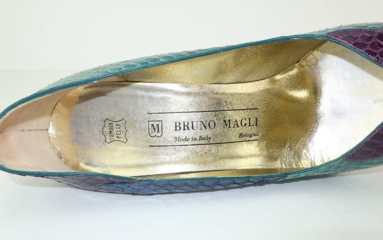 C.1980 Bruno Magli Multi Color Snakeskin Peep Toe Shoes For Sale 4