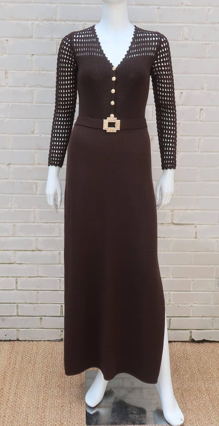 Historially, St. John Knits brand has appealed to ladies with a classic sensibility and rather traditional tastes ... this jazzy 1970's dark brown evening dress is an early departure!  The crochet style shoulder and sleeves provide a slinky bohemian