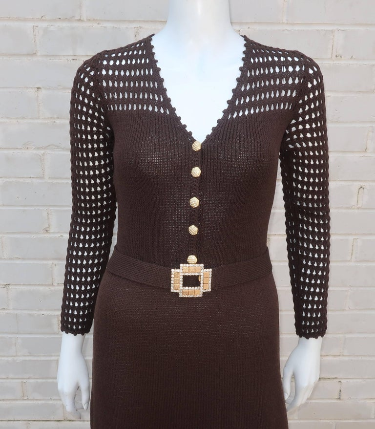 Black 1970's Brown Crochet Dress With Rhinestone & Gold Details For Sale
