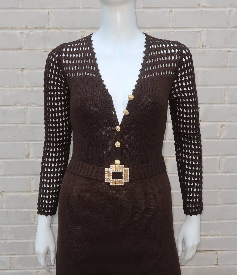 1970's Brown Crochet Dress With Rhinestone & Gold Details For Sale 1
