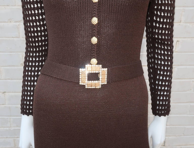 Women's 1970's Brown Crochet Dress With Rhinestone & Gold Details For Sale