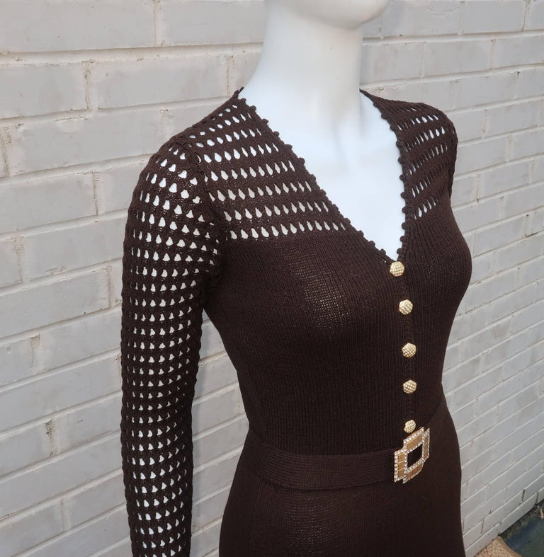 1970's Brown Crochet Dress With Rhinestone & Gold Details For Sale 2