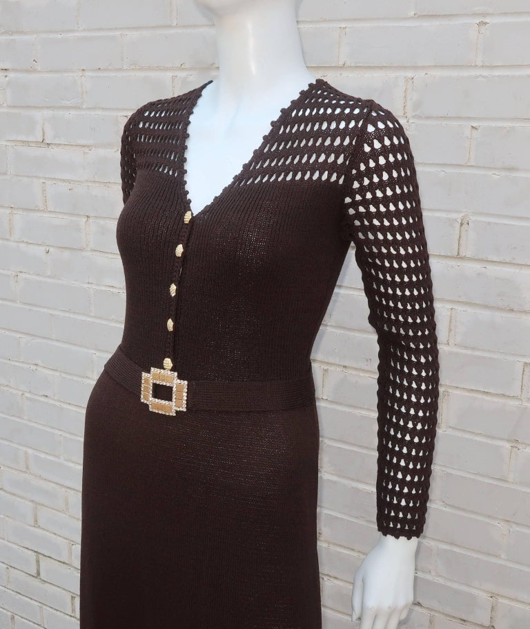 1970's Brown Crochet Dress With Rhinestone & Gold Details For Sale 3