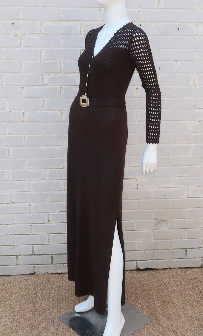 1970's Brown Crochet Dress With Rhinestone & Gold Details For Sale 4