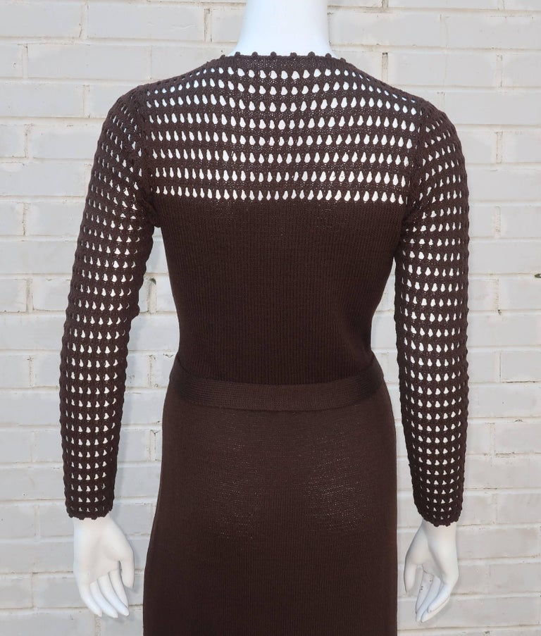 1970's Brown Crochet Dress With Rhinestone & Gold Details For Sale 5