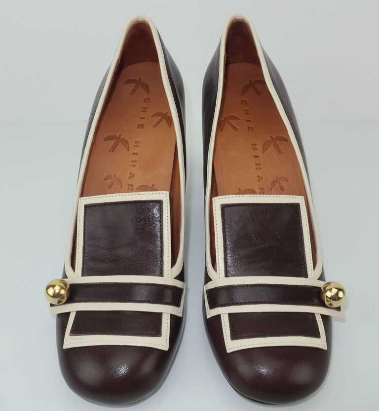 Black Chie Mihara Brown Leather Two Tone Heeled Loafer Shoes Sz 38 For Sale