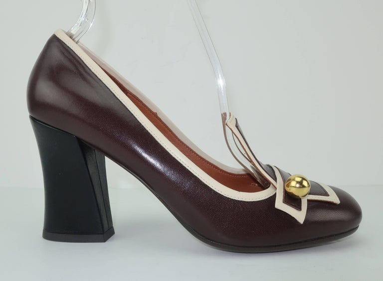 Women's Chie Mihara Brown Leather Two Tone Heeled Loafer Shoes Sz 38 For Sale