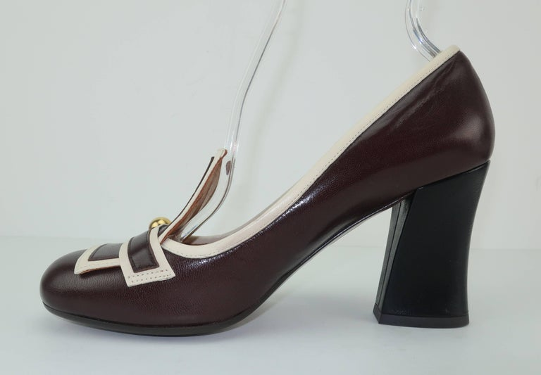 Chie Mihara Brown Leather Two Tone Heeled Loafer Shoes Sz 38 For Sale 1