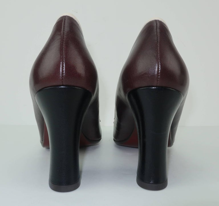 Chie Mihara Brown Leather Two Tone Heeled Loafer Shoes Sz 38 For Sale 2
