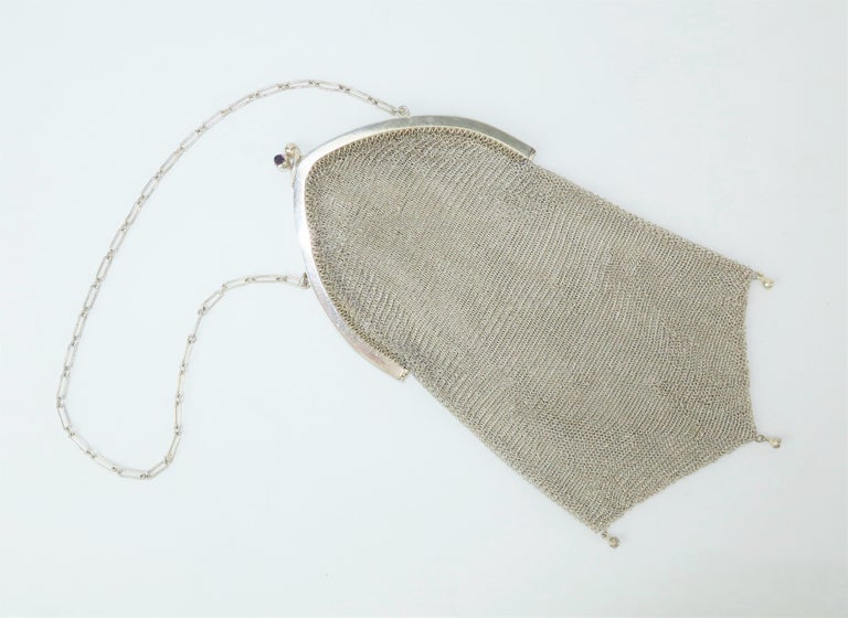 Art Deco 1920's Whiting & Davis Silver Mesh Chain Mail Flapper Handbag For Sale 1