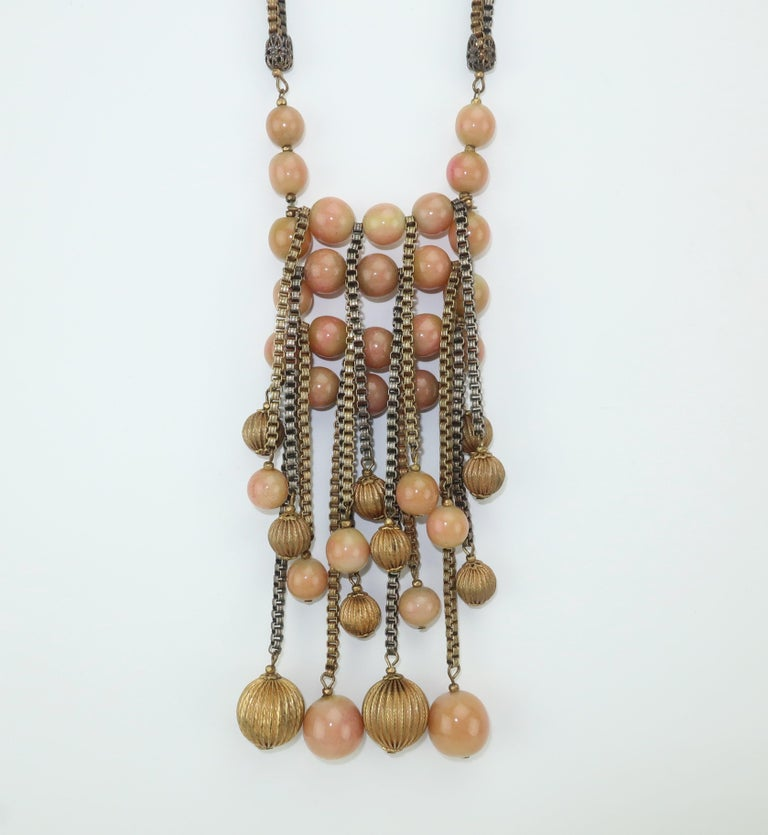 Women's Modernist Miriam Haskell Gold / Silver Box Chain and Faux Coral Necklace, 1950s  For Sale