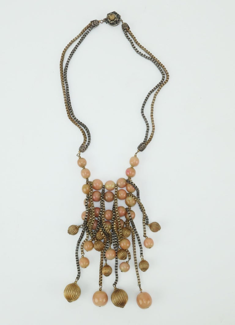 Modernist Miriam Haskell Gold / Silver Box Chain and Faux Coral Necklace, 1950s  For Sale 1