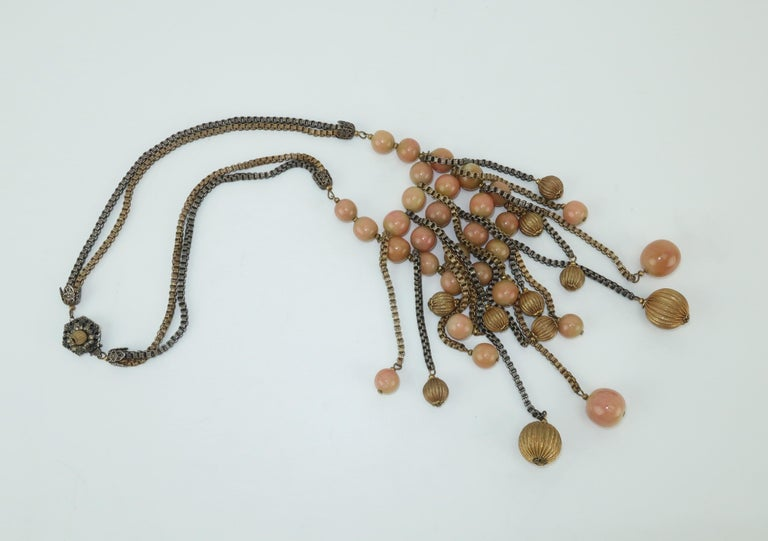 Modernist Miriam Haskell Gold / Silver Box Chain and Faux Coral Necklace, 1950s  For Sale 2