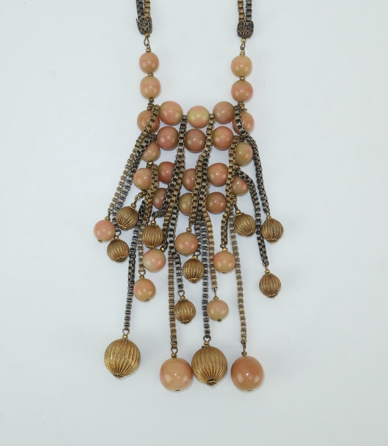 Modernist Miriam Haskell Gold / Silver Box Chain and Faux Coral Necklace, 1950s  For Sale 3