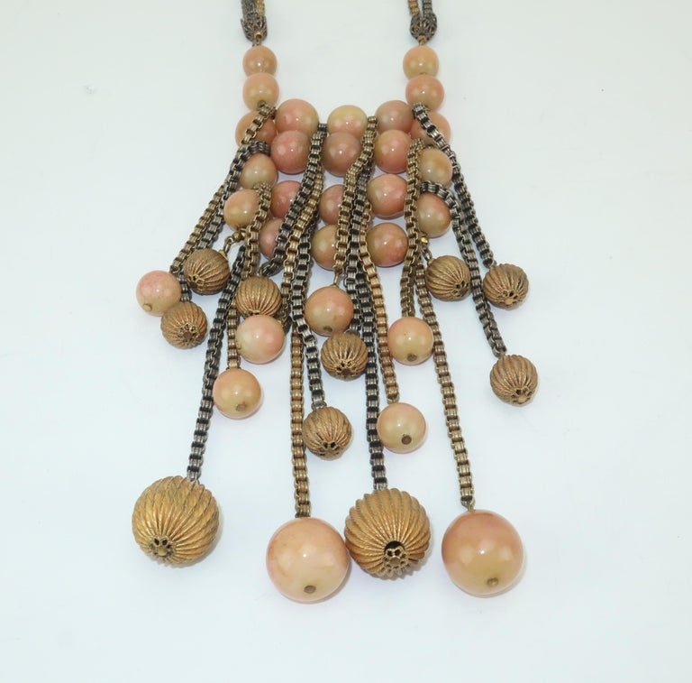 Modernist Miriam Haskell Gold / Silver Box Chain and Faux Coral Necklace, 1950s  For Sale 4