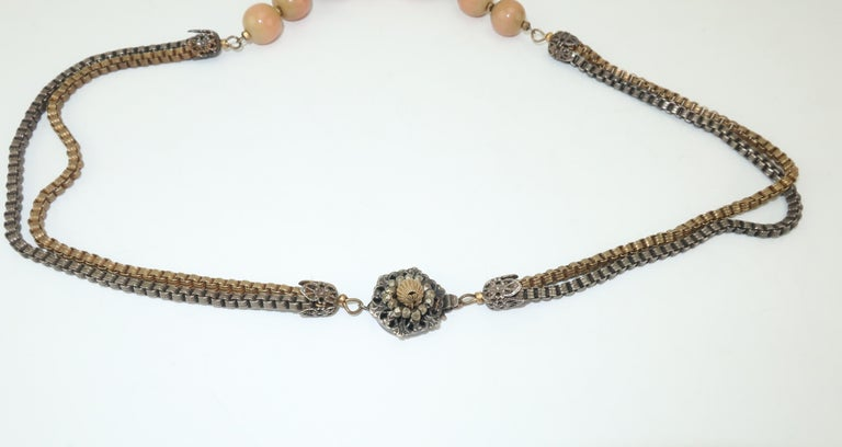 Modernist Miriam Haskell Gold / Silver Box Chain and Faux Coral Necklace, 1950s  For Sale 6