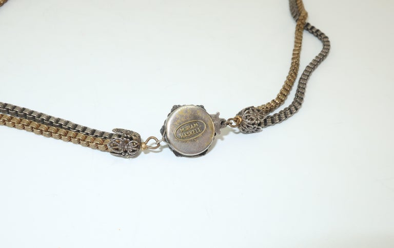 Modernist Miriam Haskell Gold / Silver Box Chain and Faux Coral Necklace, 1950s  For Sale 8