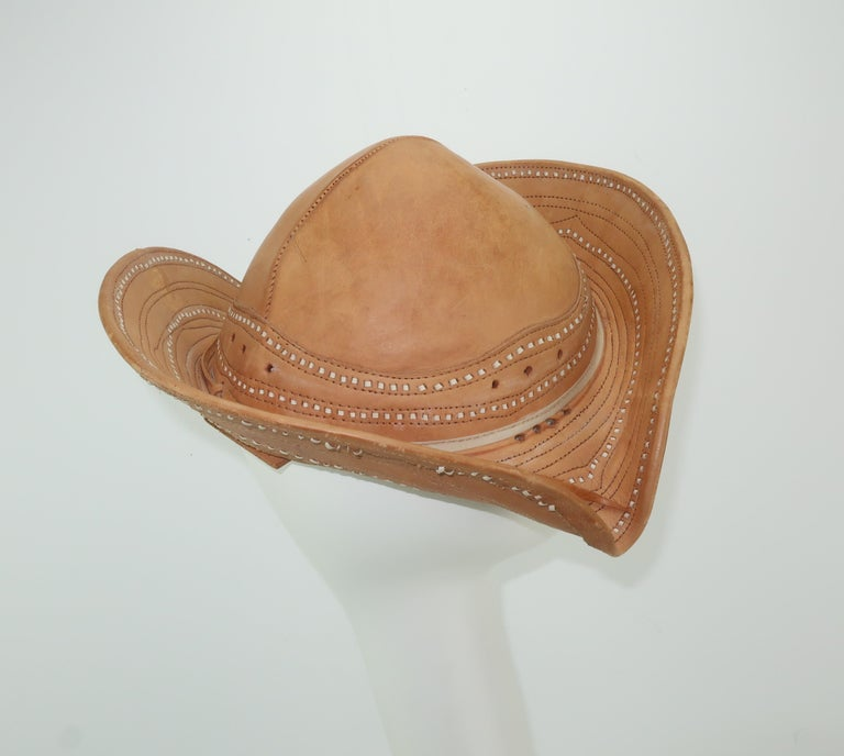 Women s or Men s Vintage Traditional Brazilian Leather Cowboy Hat For Sale 8eff3118ac2