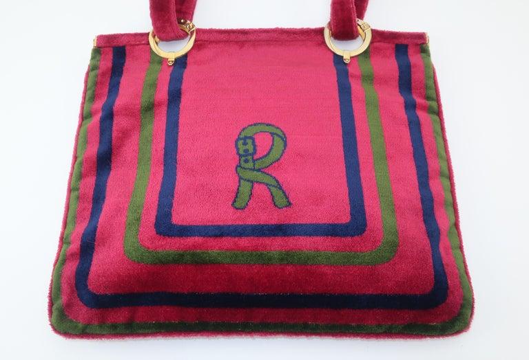 Women's 1960's Roberta Di Camerino Velvet Convertible Strap Logo Handbag For Sale