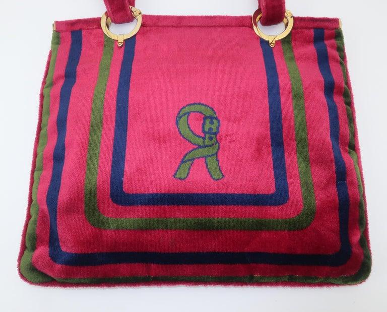 1960's Roberta Di Camerino Velvet Convertible Strap Logo Handbag For Sale 2