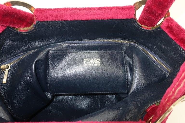 1960's Roberta Di Camerino Velvet Convertible Strap Logo Handbag For Sale 6