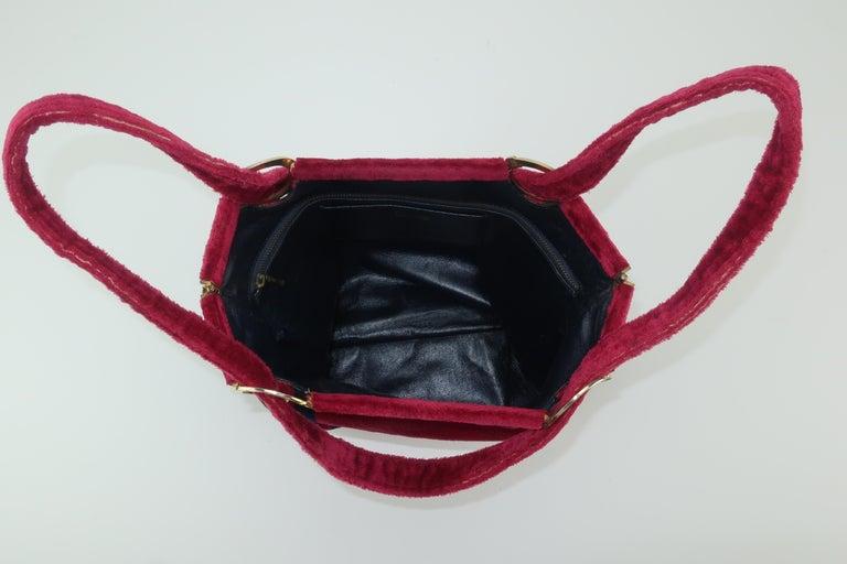 1960's Roberta Di Camerino Velvet Convertible Strap Logo Handbag For Sale 5