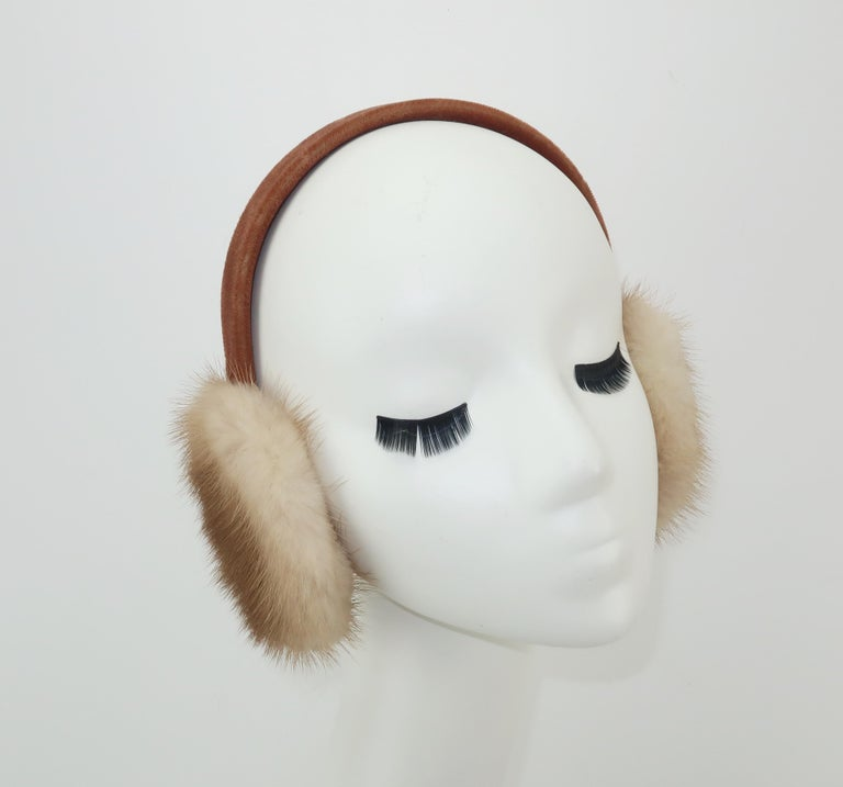 Gray Blonde Mink Fur and Velvet Vintage Ear Muffs For Sale