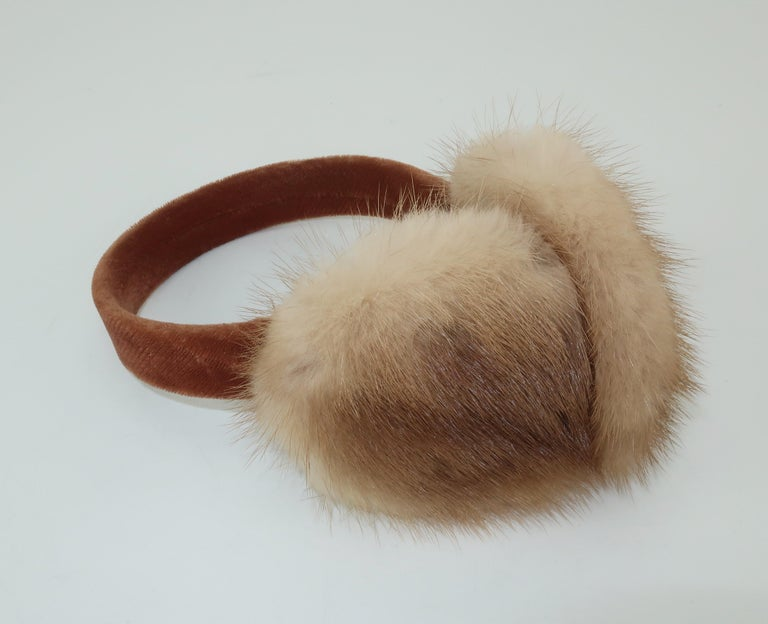 Blonde Mink Fur and Velvet Vintage Ear Muffs For Sale 1