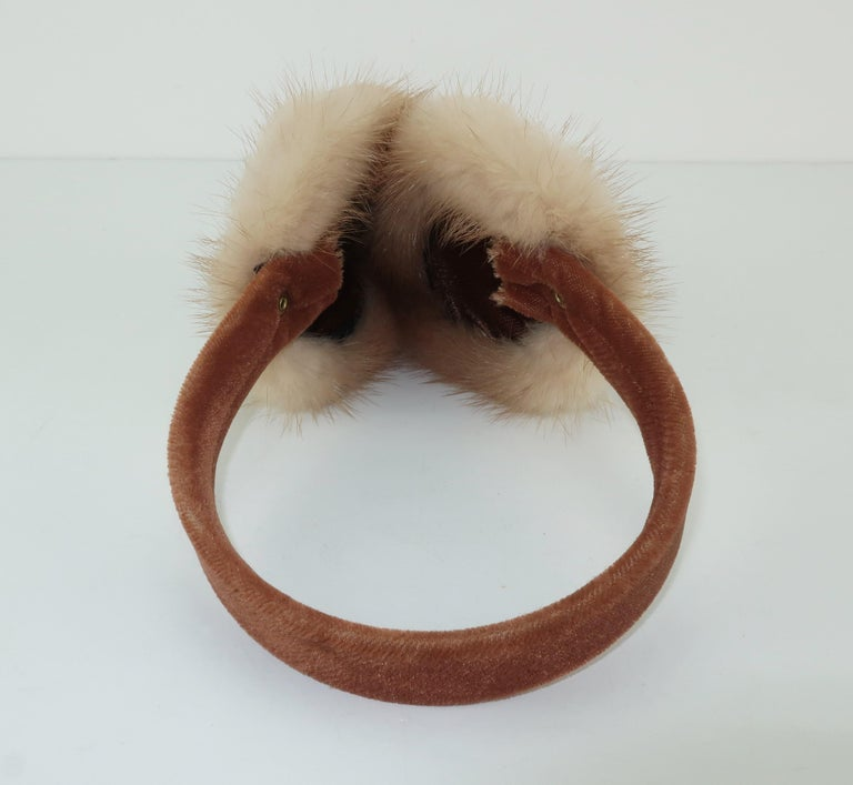 Blonde Mink Fur and Velvet Vintage Ear Muffs For Sale 2