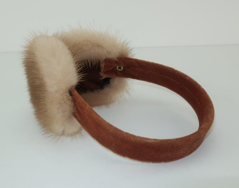 Blonde Mink Fur and Velvet Vintage Ear Muffs For Sale 3