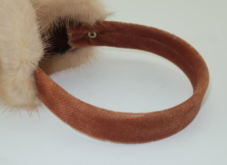 Blonde Mink Fur and Velvet Vintage Ear Muffs For Sale 5