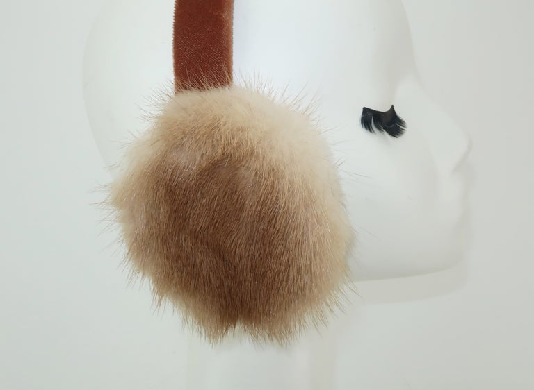 Women's Blonde Mink Fur and Velvet Vintage Ear Muffs For Sale