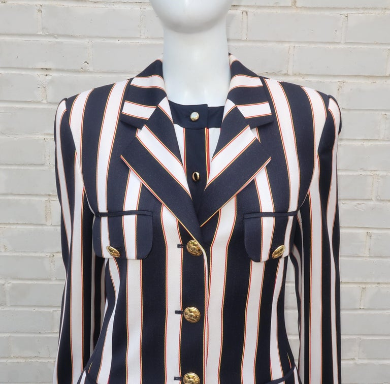 Escada Red White And Blue Equestrian Style Blouse With Jacket 1990s