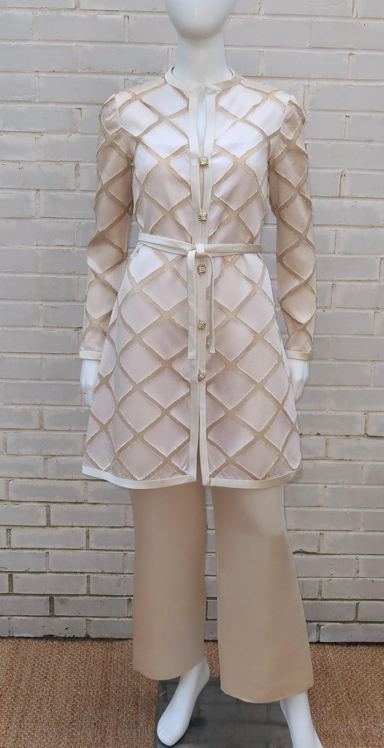 Elinor Simmons for Malcolm Starr Satin Jumpsuit With Jacket, circa 1970 For Sale 4