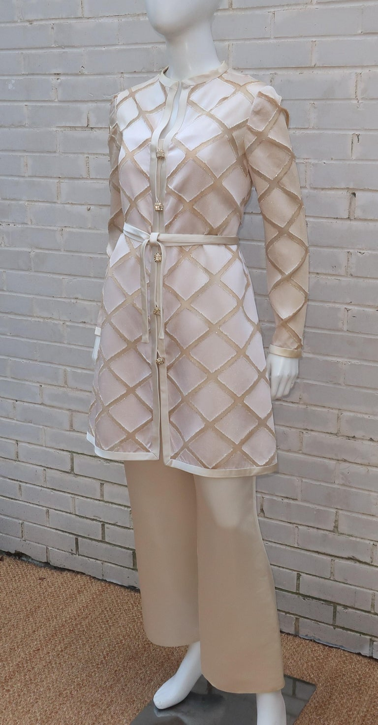 Elinor Simmons for Malcolm Starr Satin Jumpsuit With Jacket, circa 1970 For Sale 9