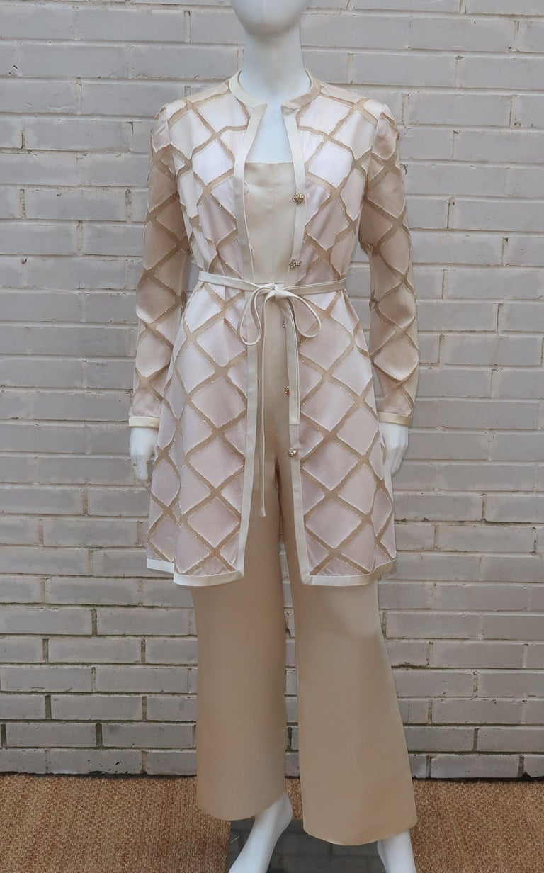 Brown Elinor Simmons for Malcolm Starr Satin Jumpsuit With Jacket, circa 1970 For Sale