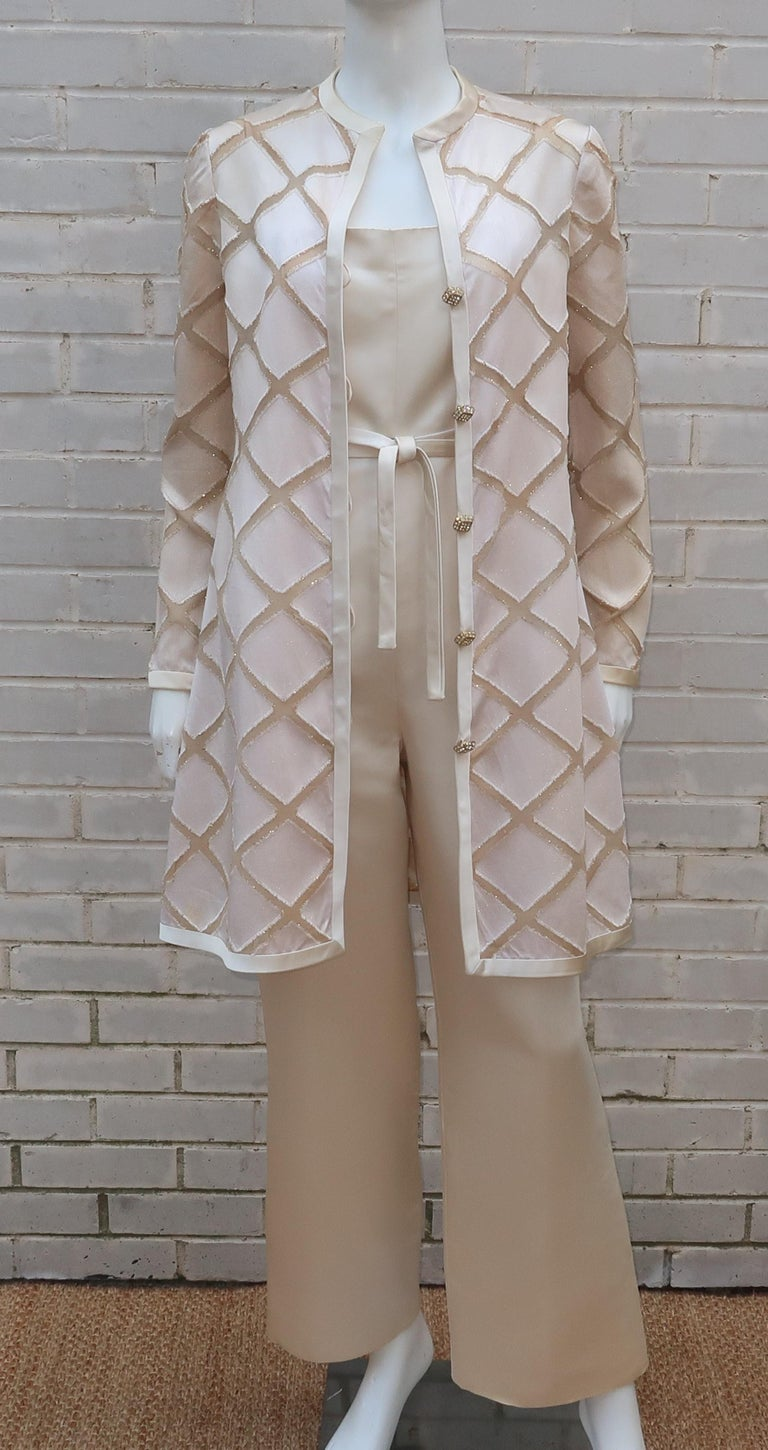 Elinor Simmons for Malcolm Starr Satin Jumpsuit With Jacket, circa 1970 In Fair Condition For Sale In Atlanta, GA
