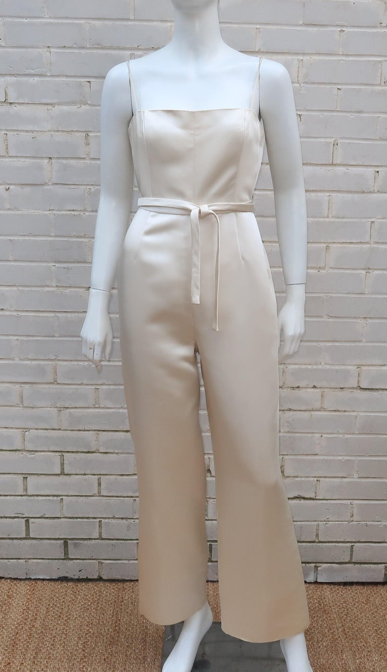 Women's Elinor Simmons for Malcolm Starr Satin Jumpsuit With Jacket, circa 1970 For Sale