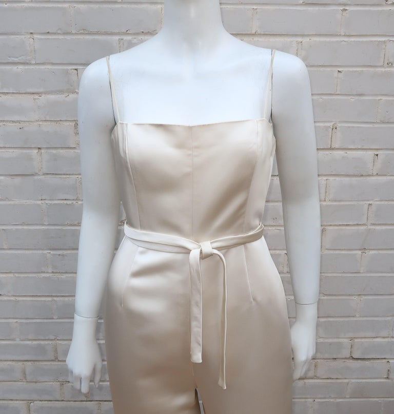 Elinor Simmons for Malcolm Starr Satin Jumpsuit With Jacket, circa 1970 For Sale 1