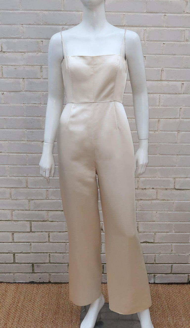 Elinor Simmons for Malcolm Starr Satin Jumpsuit With Jacket, circa 1970 For Sale 2
