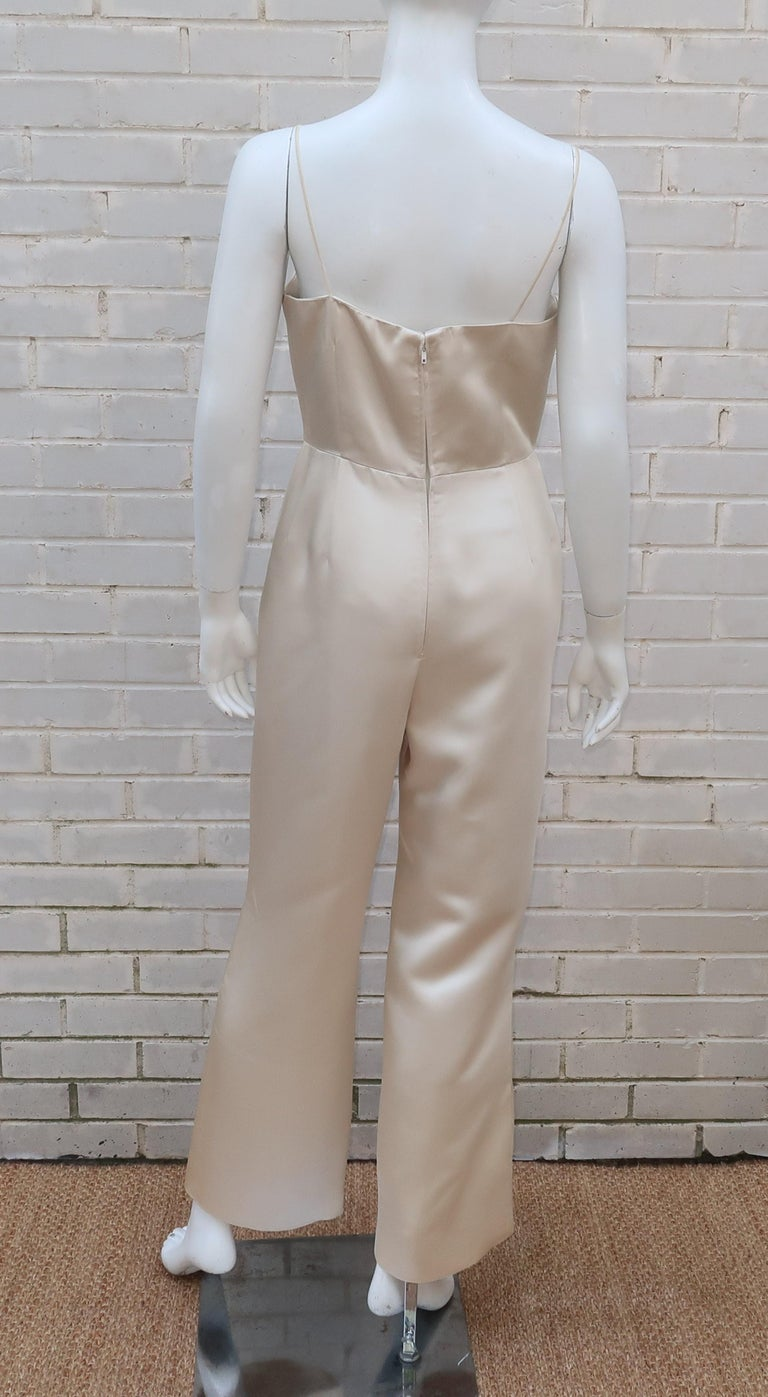 Elinor Simmons for Malcolm Starr Satin Jumpsuit With Jacket, circa 1970 For Sale 3