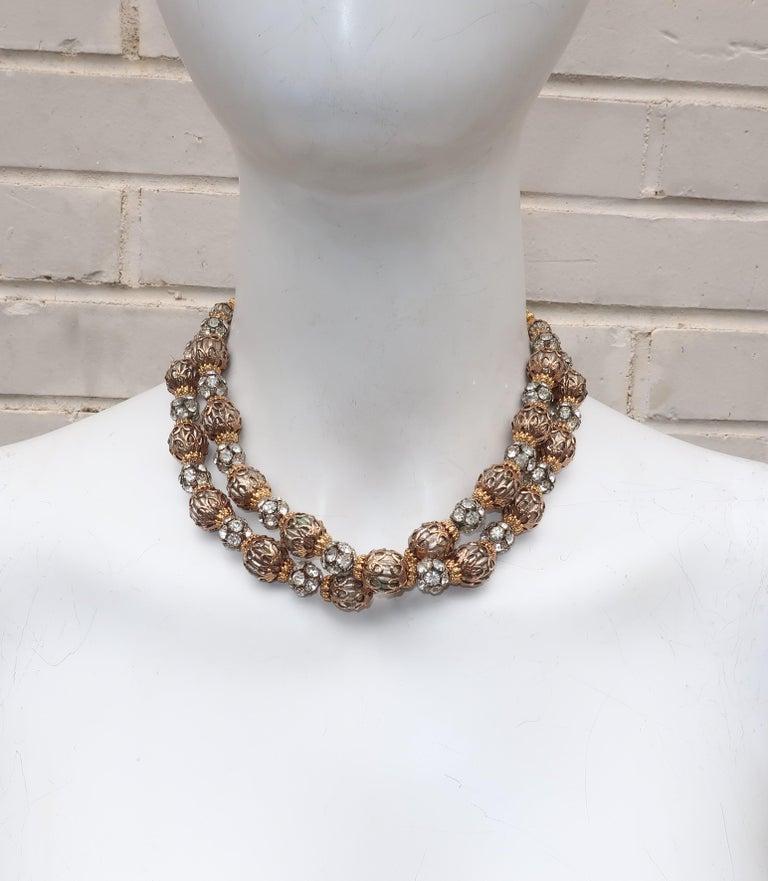 Retro 1950's Multi Strand Rhinestone Fluted Bead Choker Necklace For Sale