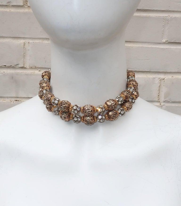 1950's Multi Strand Rhinestone Fluted Bead Choker Necklace In Good Condition For Sale In Atlanta, GA