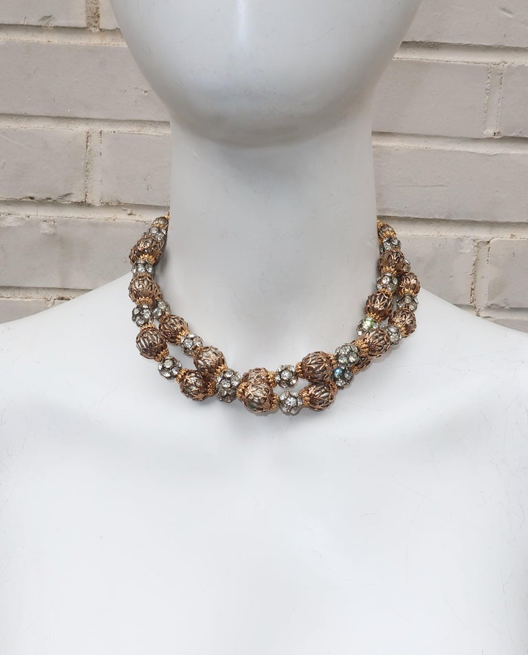 Women's 1950's Multi Strand Rhinestone Fluted Bead Choker Necklace For Sale