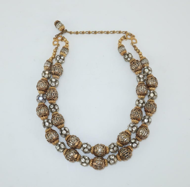 1950's Multi Strand Rhinestone Fluted Bead Choker Necklace For Sale 1
