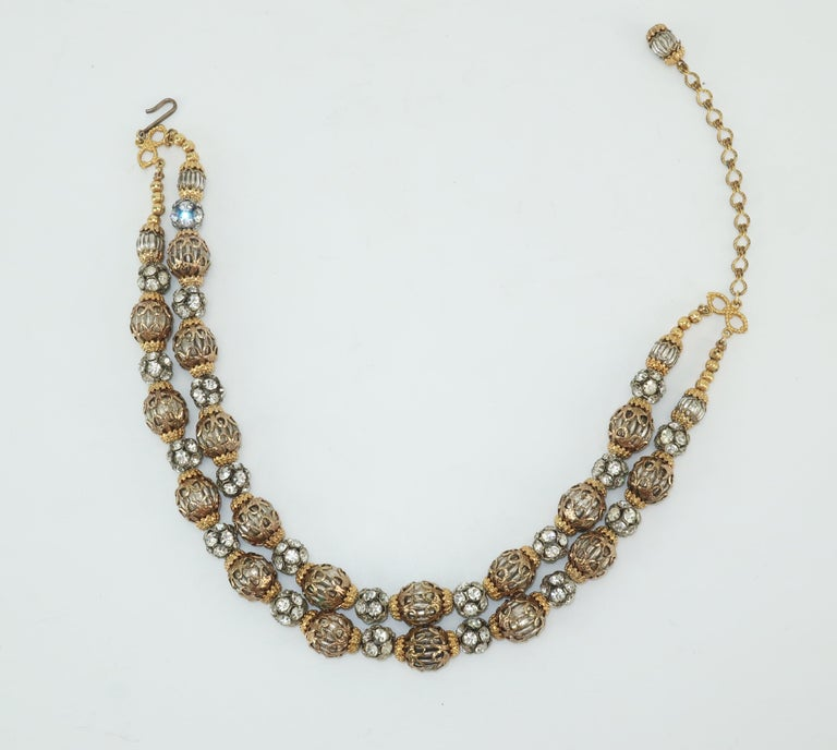 1950's Multi Strand Rhinestone Fluted Bead Choker Necklace For Sale 2