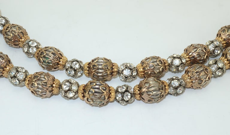 1950's Multi Strand Rhinestone Fluted Bead Choker Necklace For Sale 3